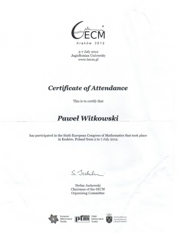 6th European Congress of Mathematics - Certificate of Accendance
